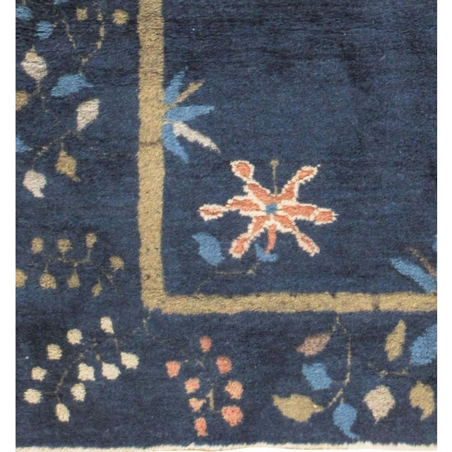 Art Deco Art Deco Vintage Chinese Navy Rug Circa 1920 4' X 6'7 For Sale - Image 3 of 6
