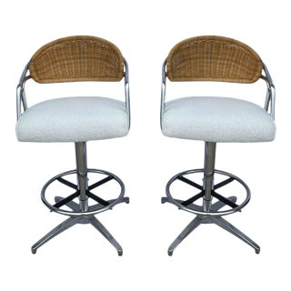 Vintage Chrome and Rattan Counter Stools - a Pair For Sale