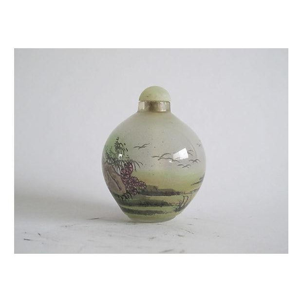 Handpainted Chinese Glass Perfume Bottle - Image 3 of 4