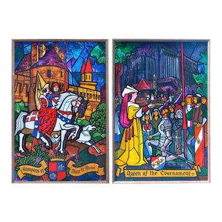 Lumen Martin Winter Medieval Painted Acrylic Panels - a Pair For Sale