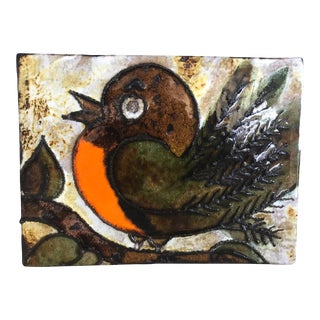 1960s Mid-Century Modern Ceramic Tile Featuring a Stylised Robin - Marked Ruscha Handgemalt For Sale