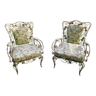 Vintage Mid Century Custom Toile Lounge Chairs - a Pair For Sale