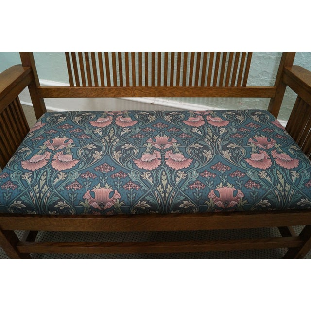Stickley Mission Oak High Spindle Back Settee - Image 7 of 10