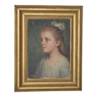 Antique Portrait of Charming Young Girl Painting by Henton C.1910 For Sale