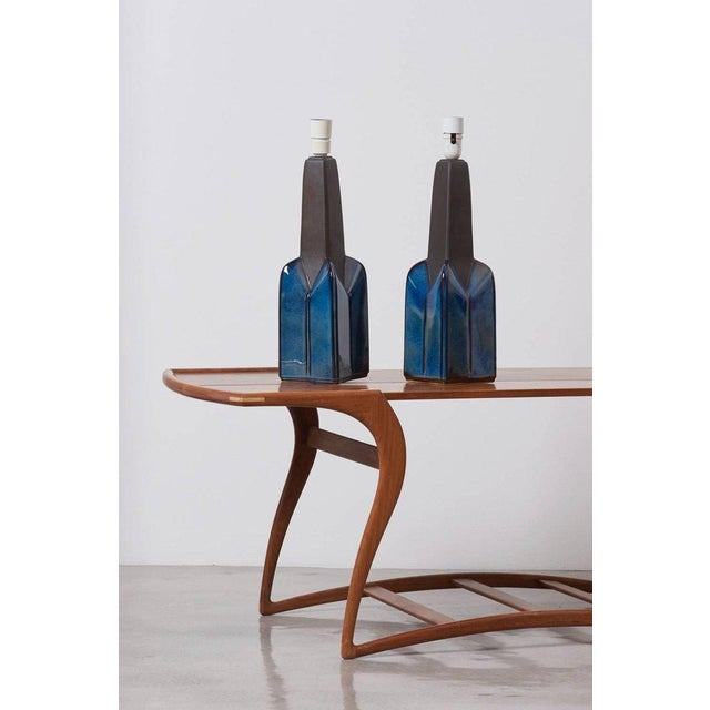A pair of blue ceramic table lamps by Søholm Stentøj, Denmark. Marked by Søholm and in mint condition. 1 x E27 each Wiring...