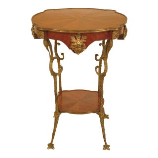 French Bronze Leg Walnut Occasional Table