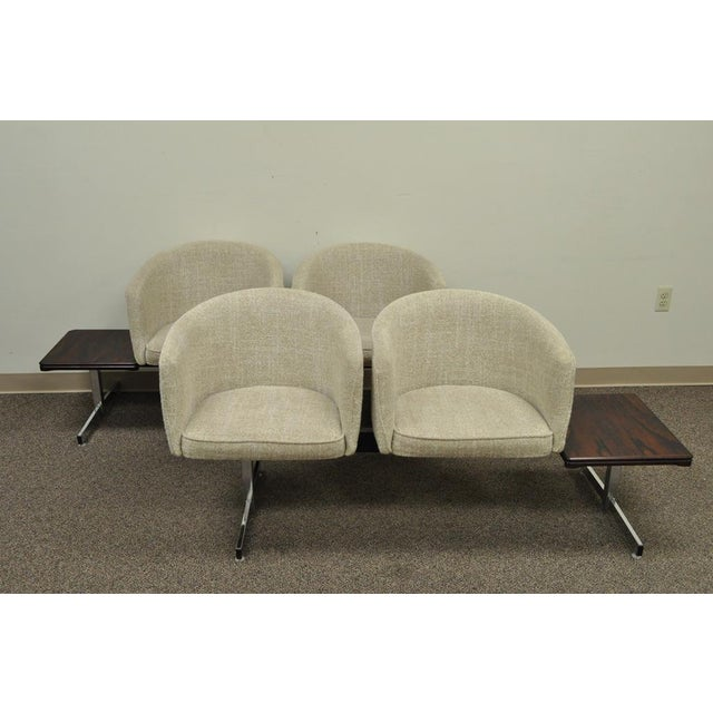 Vintage Mid-Century Danish Modern Rosewood End Tables Club Chairs Sectional Sofa - 2 Piece For Sale - Image 12 of 13