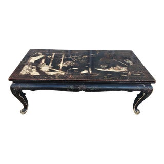 Antique Jansen Hand Painted Chinoiserie Coffee Table For Sale