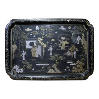 Chinese Black Lacquer Golden Scenery Rectangular Tray Display Art