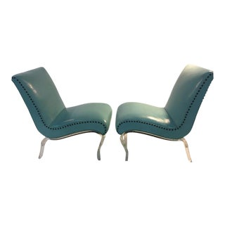 Pair of Grosfeld House Graceful Lucite Lounge Chairs Designed by Lorin Jackson For Sale