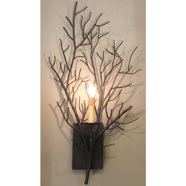 Contemporary Currey & Co. Organic Modern Iron Branch Wall Sconces Pair For Sale - Image 3 of 6