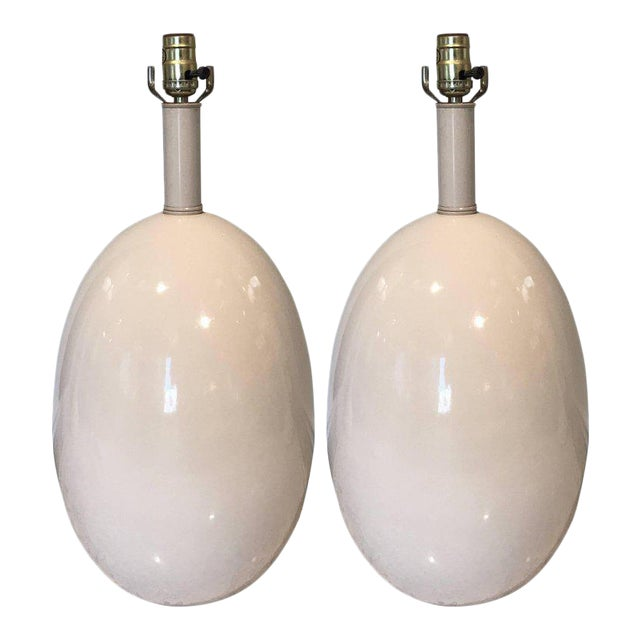California Studio Porcelain Egg Shaped Lamps - A Pair For Sale
