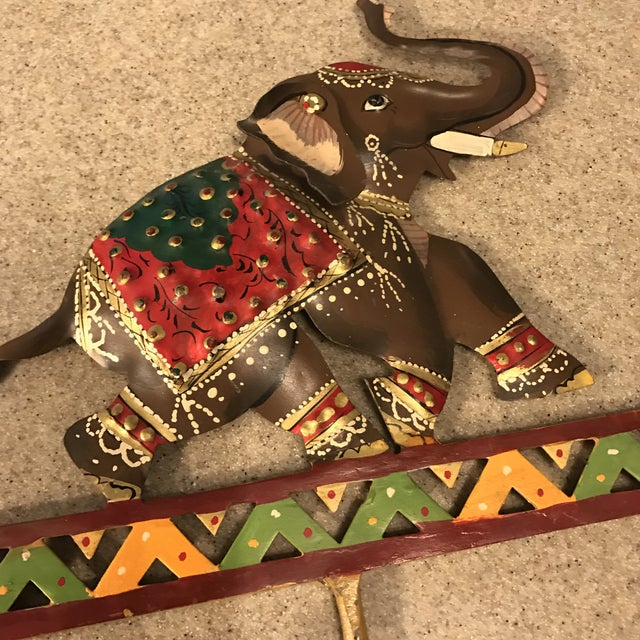 Metal Hand Painted Elephant Coat Hook For Sale In Charlotte - Image 6 of 11