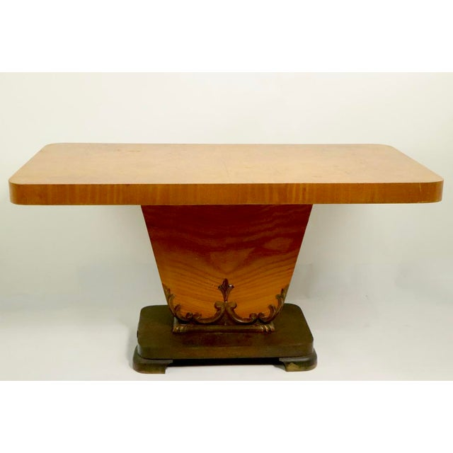 Diminutive English Art Deco Burl Console Table For Sale - Image 9 of 9