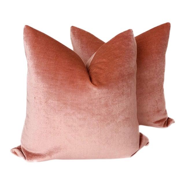 Vintage Rose Linen Velvet Pillows - a Pair For Sale