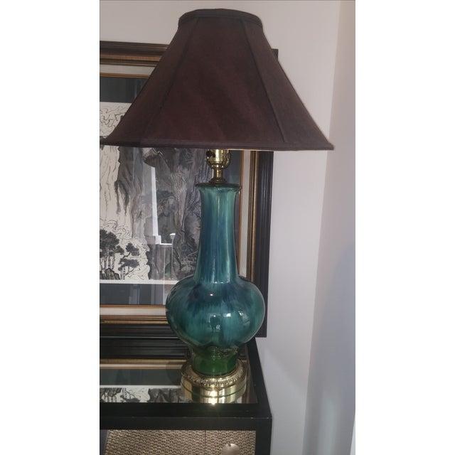 Mid Century Turquoise Drip Glaze Lamp - Image 2 of 7