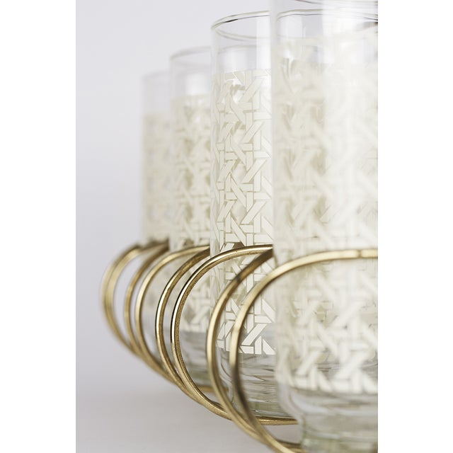 Caned Vintage Highball Glasses & Caddy - Set of 8 - Image 5 of 7