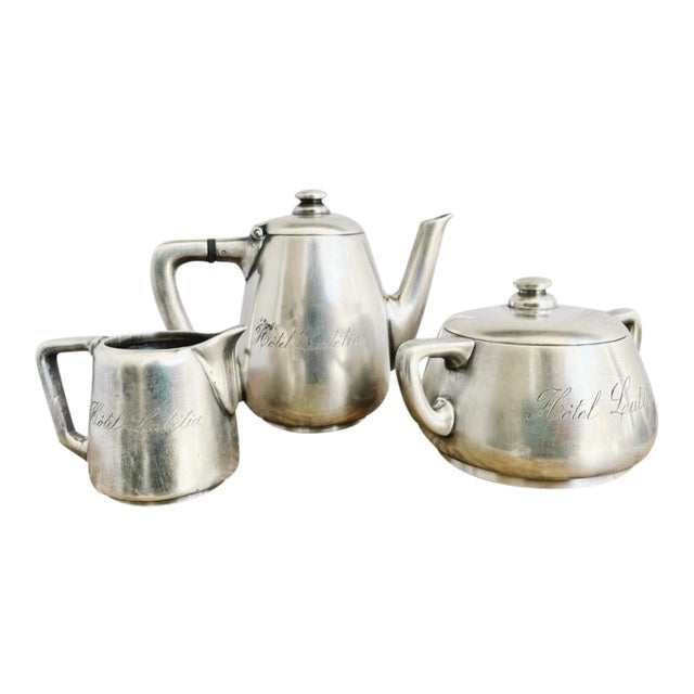 Antique Silver Plated Childs Tea Set From Hotel Lutetia Paris For Sale