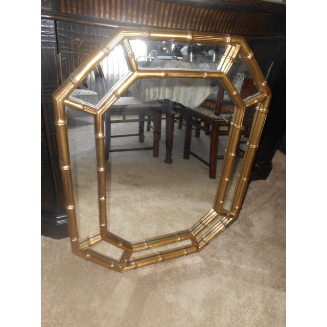 Glass Vintage Mid-Century Hollywood Regency Faux Bamboo Gold Wall Mirror For Sale - Image 7 of 7