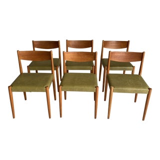 Mid-Century Modern Swedish Teak and Moss Green Dining Chairs- Set of 6 For Sale