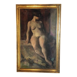 1923 Vintage Seated Nude Woman Original Painting For Sale