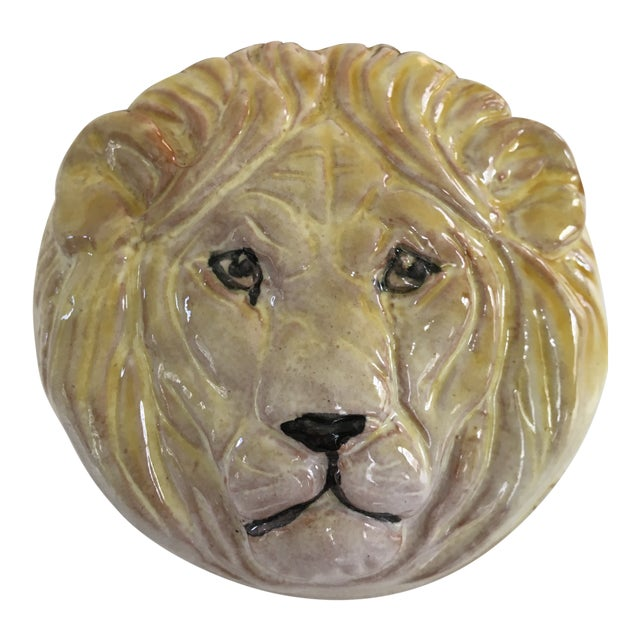 20th Century Hollywood Regency Pottery Lion Lidded Box-Made in Italy For Sale