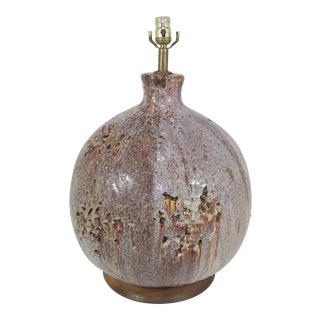 Mid-Century Modern Drip Lamp Volcanic Fat Lava Glaze Stoneware For Sale