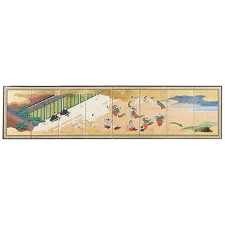 Japanese Meiji Eight-Panel Tale of Genji Screen For Sale