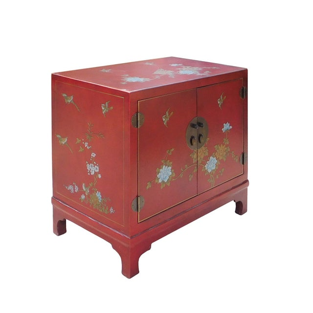 Oriental Red Vinyl Flower Side Table Cabinet - Image 3 of 7
