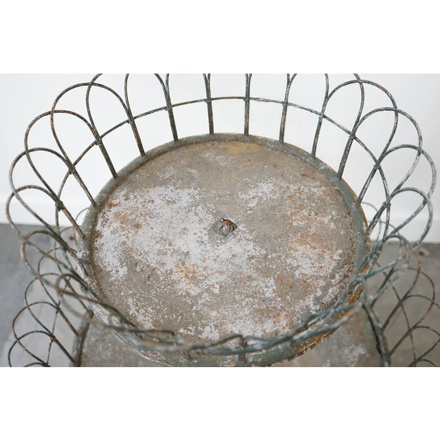 Gray Two-Tiered Iron Planter For Sale - Image 8 of 9