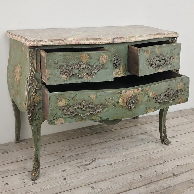 Mid 19th Century 19th Century French Louis XV Painted Marble Top Commode For Sale - Image 5 of 13