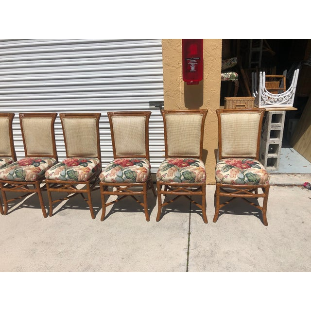 McGuire or Palecek Bamboo Leather Wrapped Dining Chairs- Set of 8 For Sale - Image 10 of 12