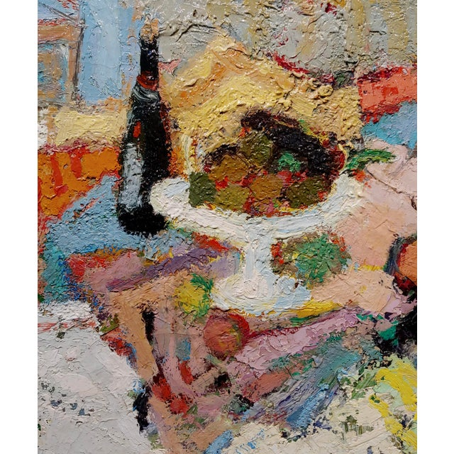 George Rene Sinicki -A Bottle of Wine on a Busy Table -1950s Oil Painting For Sale - Image 4 of 8