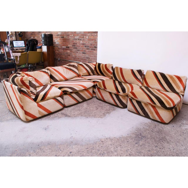 1970s American Modern Five-Piece Chevron Sectional Sofa For Sale - Image 13 of 13