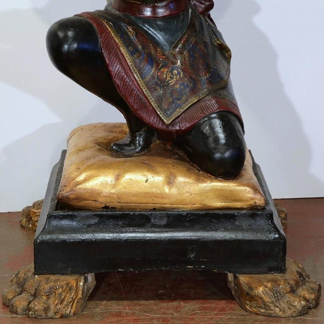19th Century Italian Carved Polychrome Blackamoor Sculpture With Jardiniere For Sale - Image 4 of 10