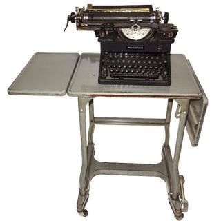 Early 20th Century Typewriter, on Steel Dual Drop Leaf Rolling Typewriter Table.