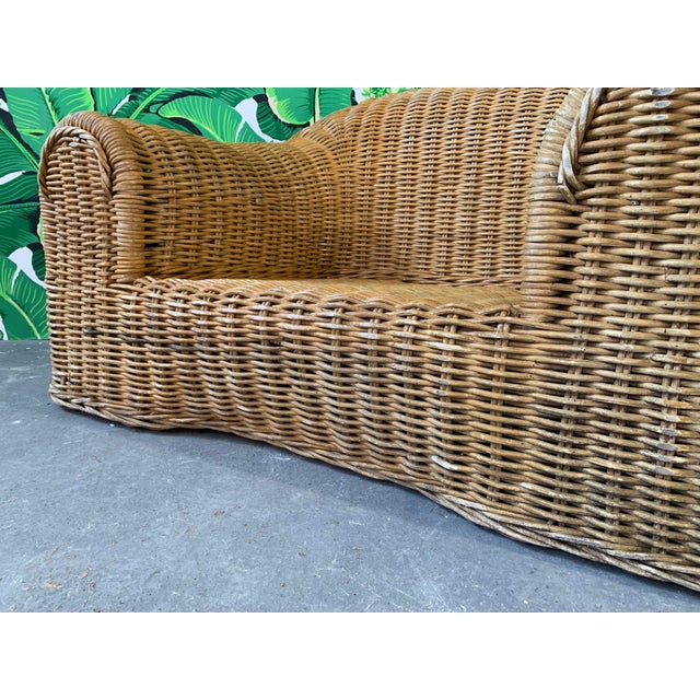 1970s Sculptural Wicker Chair in the Manner of Michael Taylor For Sale - Image 5 of 9