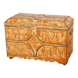 Moroccan Wedding Trunk Coffer Inlaid With Bone and Brass For Sale