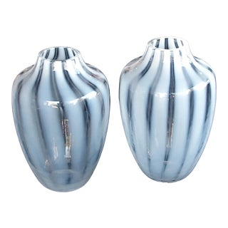 A Large-Scaled and Striking Pair of Hessen Glasswerke Mid-Century White Striated Ovoid Vases (West Germany) For Sale
