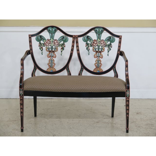 Italian Made Hepplewhite Paint Decorated Double Settee For Sale - Image 13 of 13
