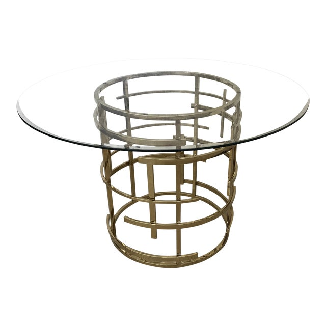 Mitchell Gold Glass and Brass Dining Table- Round For Sale