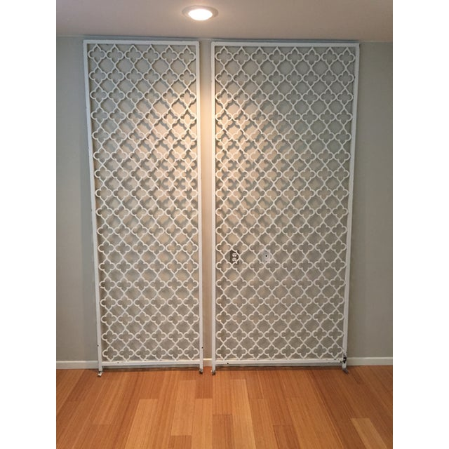 Mid-century metal wall divider screens. Pulled from a classic early 60s home dividing the entry from the sunken living...