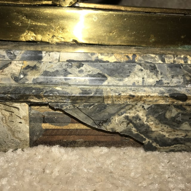 Brass & Marble Center Table For Sale - Image 10 of 11