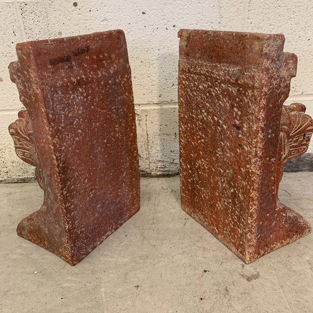 Large Terra-Cotta Bookends Quetzalcoatl Pyramid For Sale - Image 4 of 12