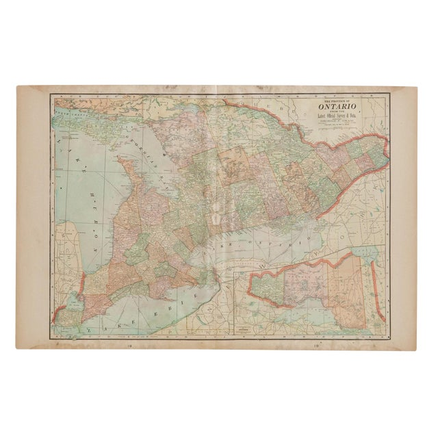 Cram's 1907 Map of Ontario For Sale