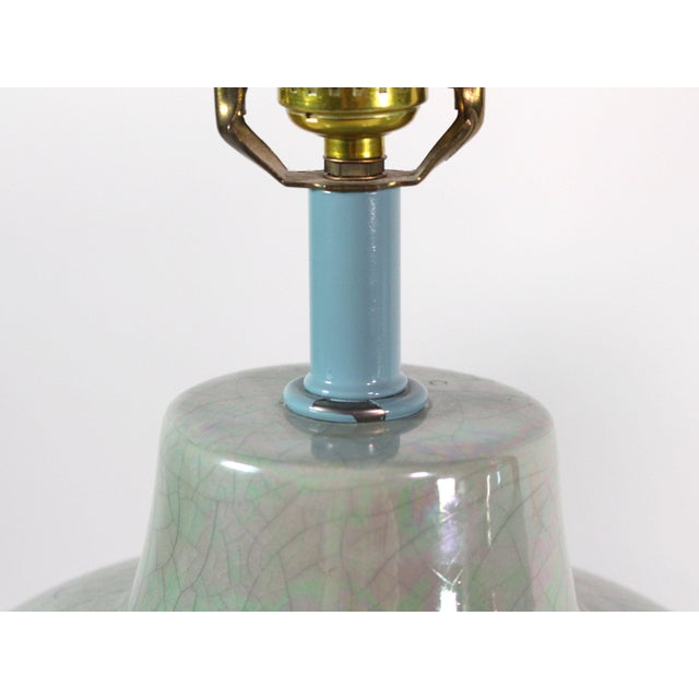 1980s Artfully Hand-Glazed Vintage Lamp Pair From Sunset Lighting For Sale - Image 5 of 6