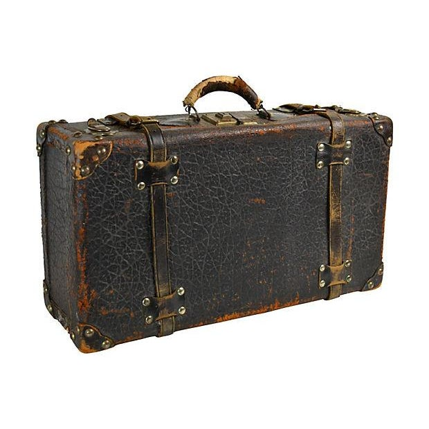 Vintage European Leather Suitcase For Sale - Image 4 of 6
