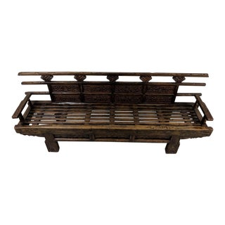 Modern Hand Made Wooden Bench For Sale