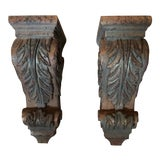 Image of Solid Wood Carved Corbels - Pair For Sale