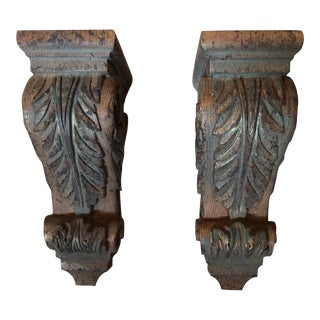 Solid Wood Carved Corbels - Pair For Sale
